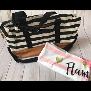 Weekender bag and beach towel